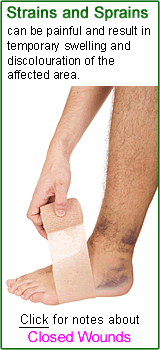 Closed wounds  e.g. strains and sprains