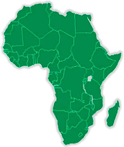 Map of Africa with countries marked