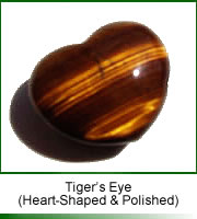 polished tigers eye heart